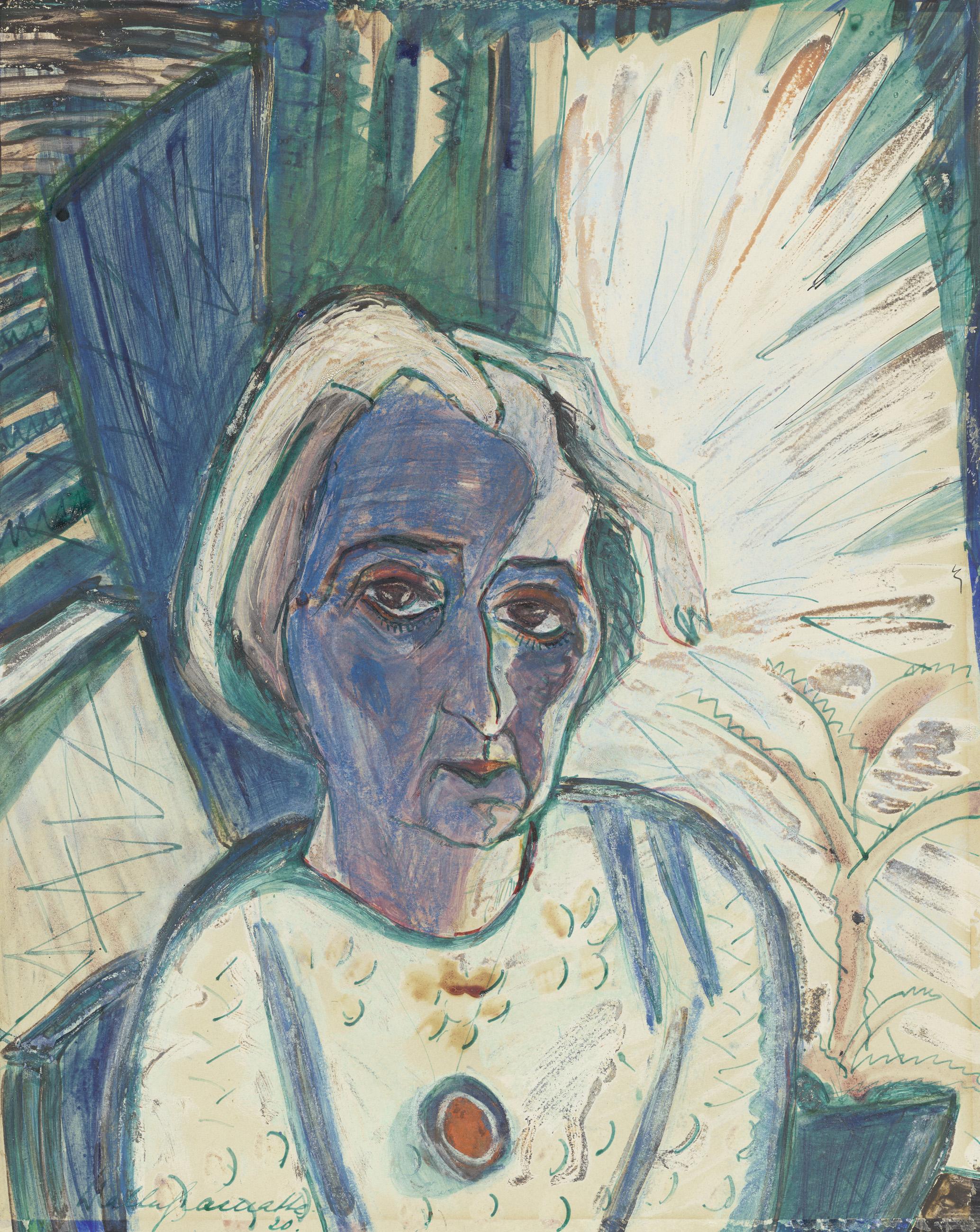 Walter Gramatte: Bildnis Rosa Schapire (1874-1954), 1920, Gouache, Aquarell, Buntstift, auf perforiertem, chamoisfarbigem Zeichenpapier, 454 x 368 mm